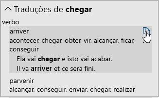 Opções de tradução para uma palavra