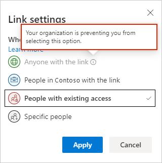 Definições de ligação do OneDrive na Web