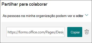 Copiar um link para colaborar