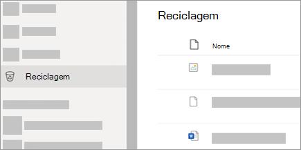 Uma captura de ecrã a mostrar o separador Reciclagem no OneDrive.com.