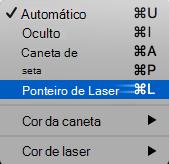 Selecione o ponteiro de laser no menu de pop-up