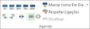 Botão da ligação no grupo agenda do separador Tarefa