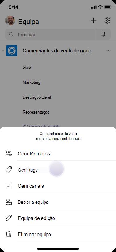 Gerir tags em equipas usando iOS