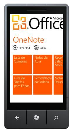 Hub do OneNote Mobile 2010