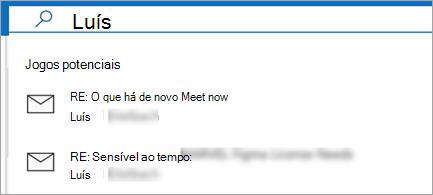 Mostrar sugestões de e-mail