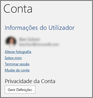 O painel Conta a mostrar a Privacidade da Conta e o botão Gerir Definições