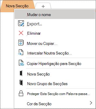 Captura de ecrã a mostrar o menu de contexto com a opção Mudar o Nome selecionada.