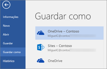 Guardar um documento do Word no OneDrive para Empresas