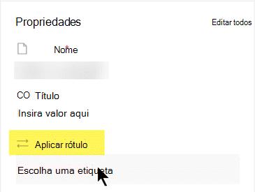 Na secção Propriedades, em 'Aplicar Etiqueta', clique para abrir a lista de opções.