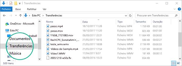 O ficheiro convertido é copiado para a pasta Transferências do seu computador
