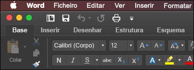 A faixa de vistas do Word para Mac no modo escuro