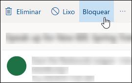 Opção de bloqueio de mensagens Outlook.com