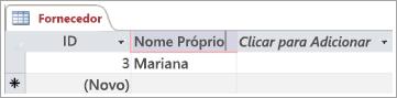 Recorte de ecrã da tabela Fornecedores a mostrar duas linhas com o ID