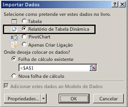 Caixa de diálogo Importar opções
