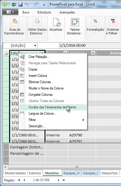 Clique com o botão direito para ocultar campos de tabelas nas Ferramentas de Clientes do Excel
