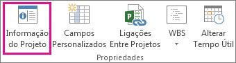 Informação do Projeto no separador Projeto