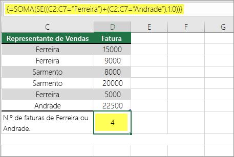 Exemplo 1: Funções SOMA e SE aninhadas numa fórmula