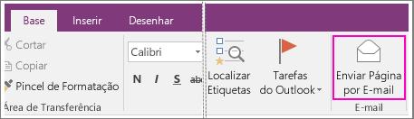 Captura de ecrã do botão Enviar Página por E-mail no OneNote 2016.