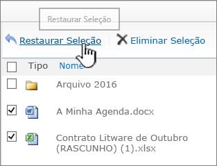 SharePoint 2010 com itens selecionados e o botão Restaurar realçado