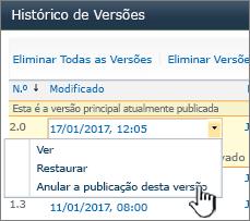 Lista pendente do controlo de versões com anular publicação realçada