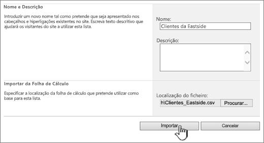 Caixa de diálogo Importar folha de cálculo com a opção Importar realçada