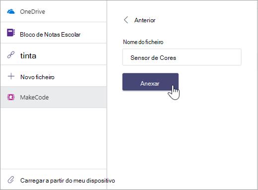 Caixa de diálogo para atribuir um nome a um ficheiro MakeCode e anexá-lo a uma tarefa do Microsoft Teams