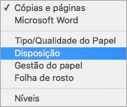 A seleção de Esquema na caixa de diálogo Imprimir
