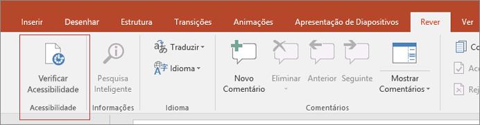 Recorte de ecrã da interface de utilizador do Word a mostrar Rever > Verificar Acessibilidade com uma caixa vermelha à volta.