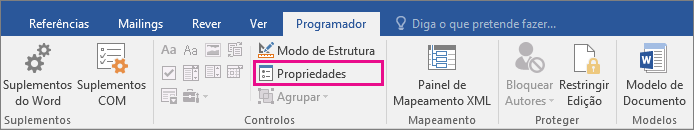 A opção Propriedades está realçada no separador Programador.