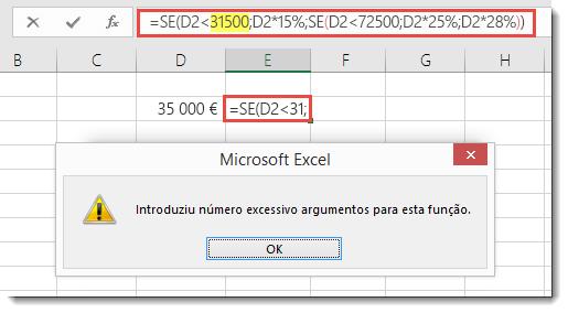 Mensagem do Excel quando adiciona uma vírgula a um valor