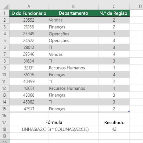 Exemplo da função LINHAS e COLUNAS para contar o número de células num intervalo