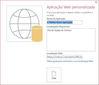 A caixa de diálogo da nova aplicação Web personalizada a mostrar o Site de Equipa da Contoso na caixa Localizações Disponíveis.