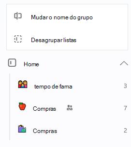 A opção grupo base está selecionada com a opção para mudar o nome de listas de grupo ou desagrupar abertos
