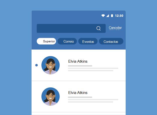 Mostra resultados de uma Pesquisa do Outlook