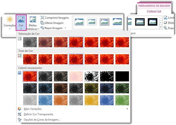 Menu do botão Cor aberto no separador Formatar das Ferramentas de Imagem