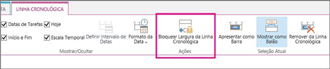 Opção de largura de tarefas da linha cronológica bloquear no separador linha cronológica