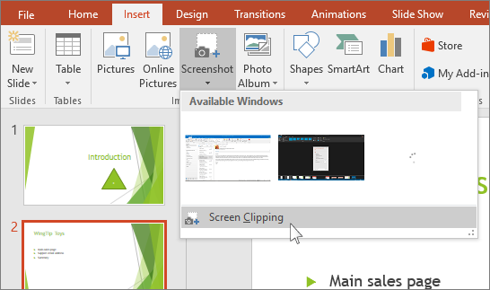 lista pendente de recorte de ecrã no PowerPoint