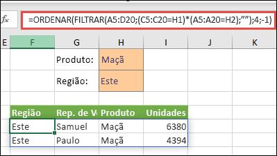 Utilizamos FILTRAR com a função ORDENAR para devolver todos os valores no intervalo da nossa matriz (A5:D20) que têm Maçãs E estão na região Este, e, em seguida, ordenar as Unidades por ordem descendente.