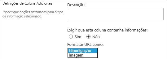 Opções de coluna/hiperligação de imagem