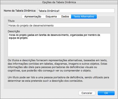 Caixa de diálogo Texto alternativo de uma tabela dinâmica do Excel.