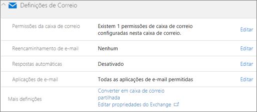 Captura de ecrã: Converter a caixa de correio de utilizador para a caixa de correio partilhada