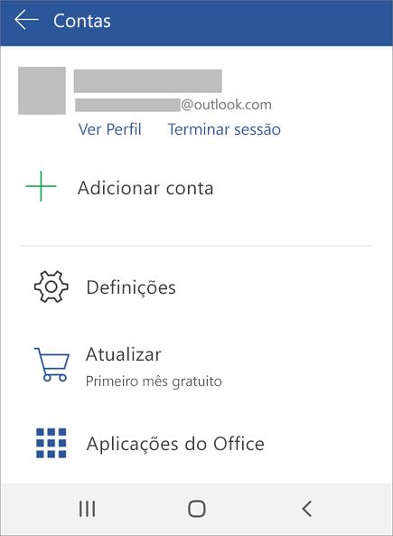 Apresenta a opção para Terminar Sessão no Office num dispositivo Android