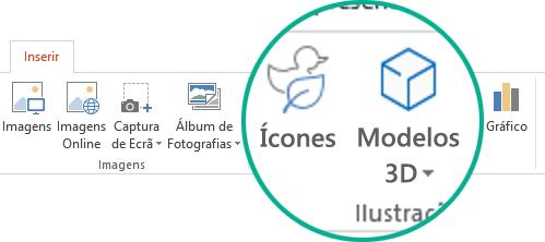 Os botões para Ícones e Modelos 3D no separador Inserir do friso da barra de ferramentas no Office 365