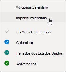 Uma captura de ecrã do botão de calendários Discover