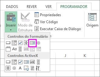 O botão Controlo de formulário de caixa de listagem