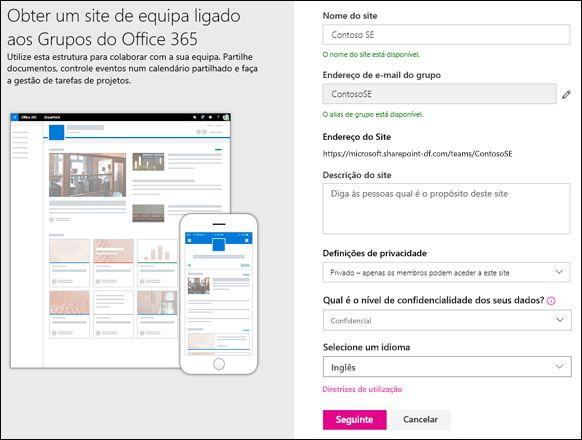 Criar um site de equipa do SharePoint