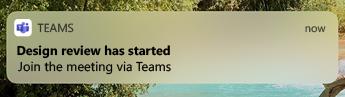 Uma notificação móvel de que a revisão de Design começou, com a opção de Participar na reunião através do Teams.