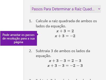 Solução os passos no painel de tarefas de símbolos matemáticos