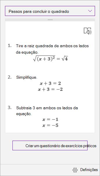 Passos de resolução no painel de tarefas do Assistente de Expressões Matemáticas