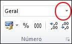 A lista Formato do Número, no grupo Número, no separador Base
